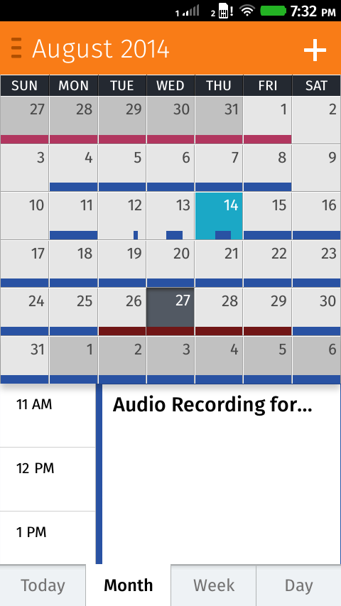 The default view in Calendar